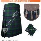 8 Yard Traditional Scottish Tartan KILT & ACCESSORIES- Clan Tartan Black Watch  size 46