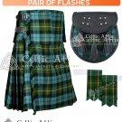 8 Yard Traditional Scottish Tartan KILT & ACCESSORIES- Clan Tartan Gunn Ancient  size 46