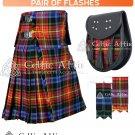 8 Yard Traditional Scottish Tartan KILT & ACCESSORIES- Clan Tartan LGBTQ Pride   size 32