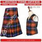 8 Yard Traditional Scottish KILT & ACCESSORIES- Clan Tartan LGBTQ size 32