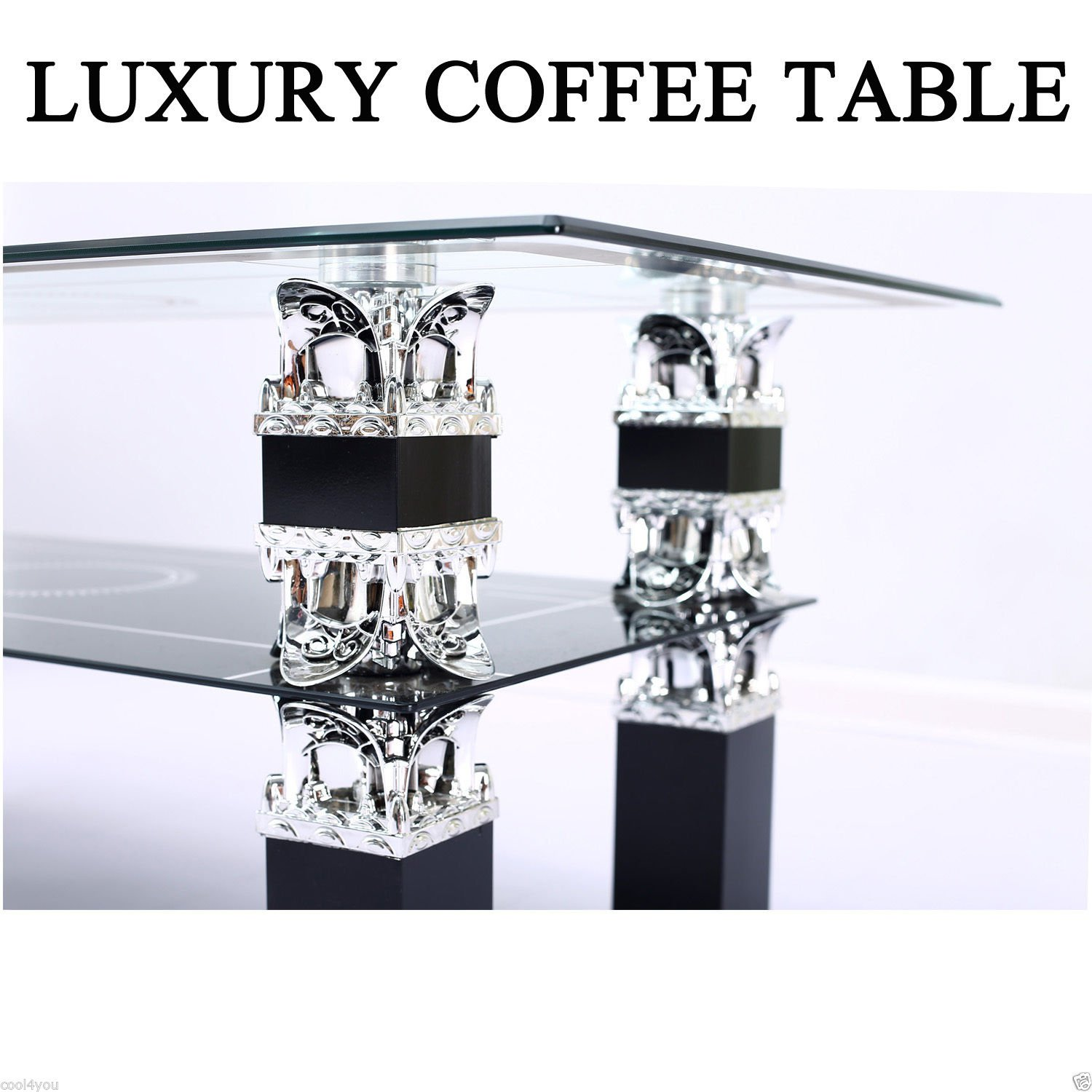 Glass Coffee Table Black with Shelf Storage Living Room Modern