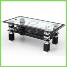 Glass Coffee Table Black with Shelf Storage Living Room Modern UK Only
