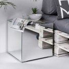 Lux Bedside Table End Tea Lamp Tables Mirrored Glass with Storage UK