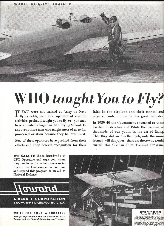 1941 Howard Aircraft Model DGA-125 Trainer Plane Ad