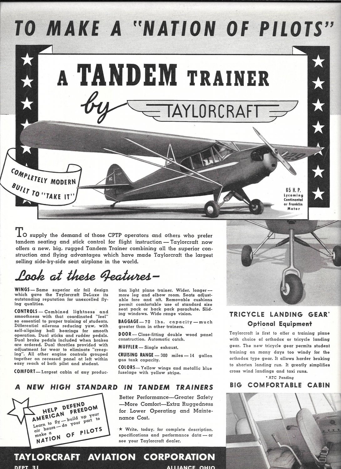 1941 Taylorcraft Tandem Trainer Plane Ad To Make A Nation Of Pilots