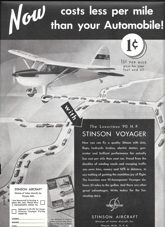 1941 Stinson Voyager Luxurious 90 hp Plane Ad