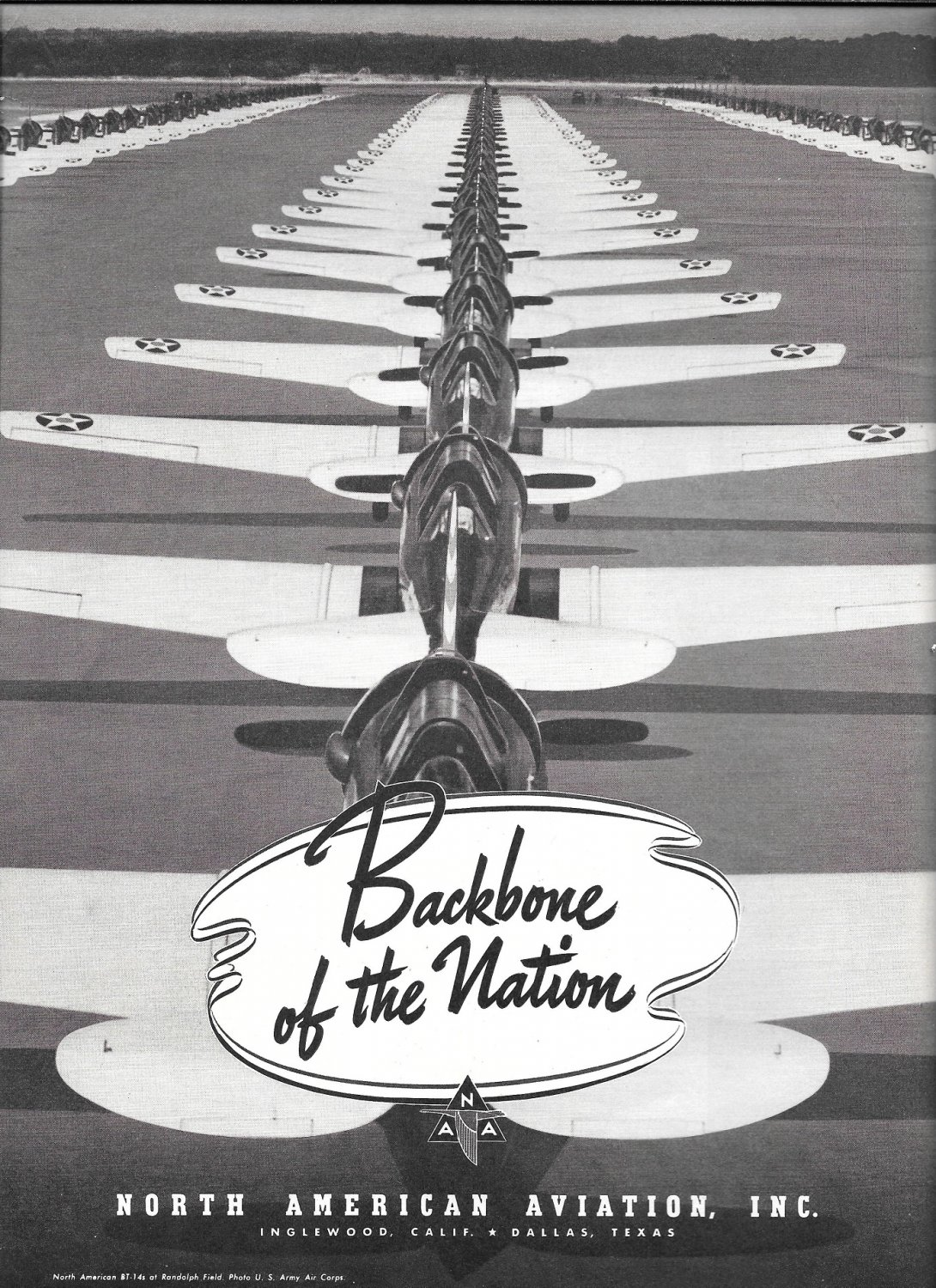 1941 North American Aviation Planes On Tarmac Ad Backbone Of The Nation