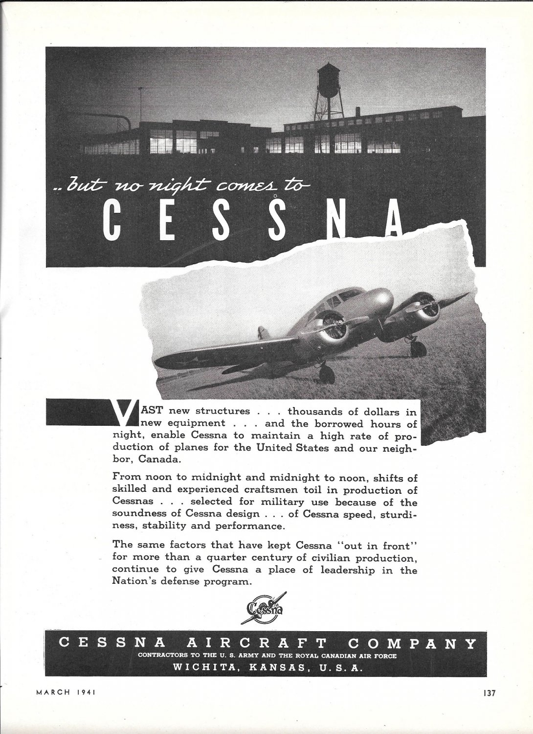 1941 Cessna Plane Factory At Night Ad