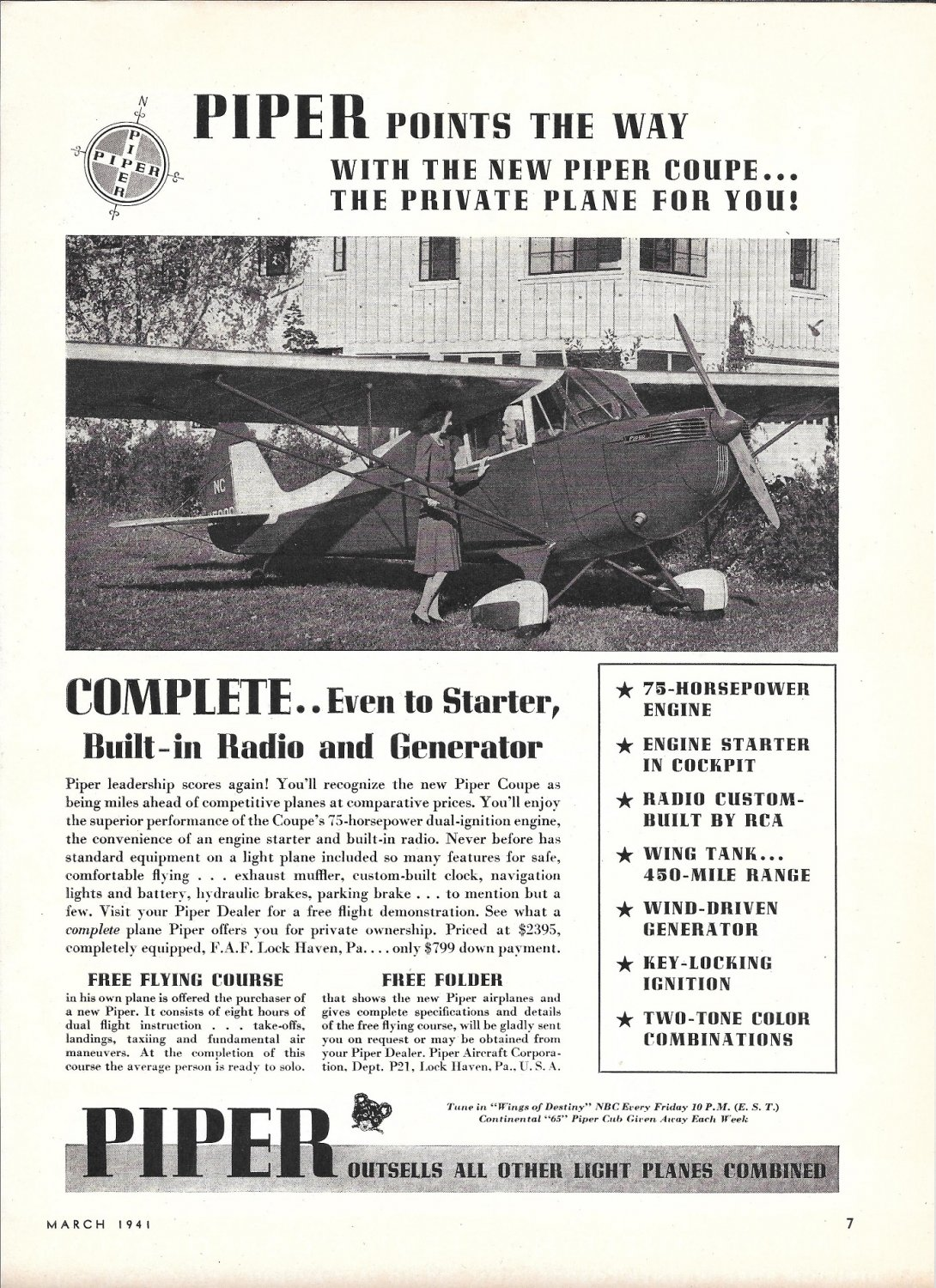 1941 Piper Coupe Plane Ad Points The Way
