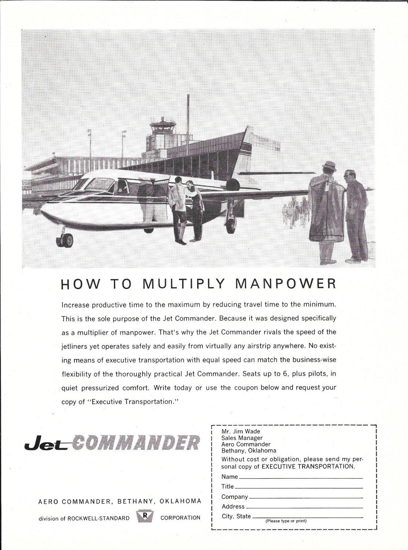 1963 Aero Jet Commander Plane At Airport Ad Multiply Manpower