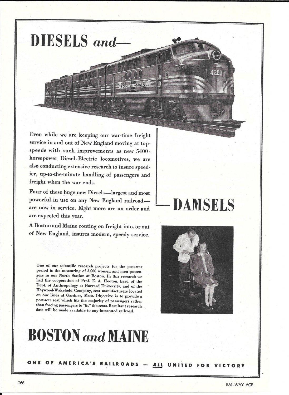 1944 Boston & Maine Railroad Diesels & Damsels Ad