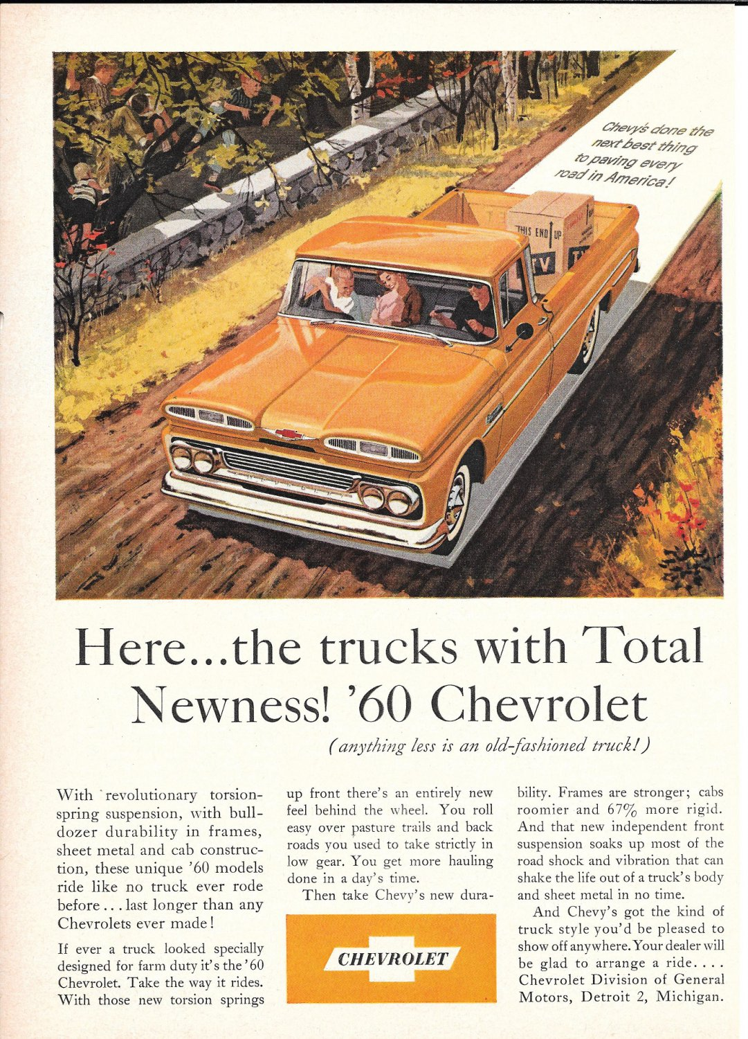 1960 Chevrolet Pickup Truck With Total Newness Ad