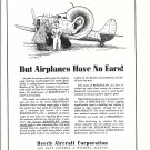 1939 Beechcraft But Airplanes Have No Ears ! Ad