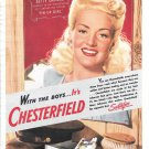 1944 Betty Grable Pin Up Girl Movie Star Chesterfield Cigarettes Ad