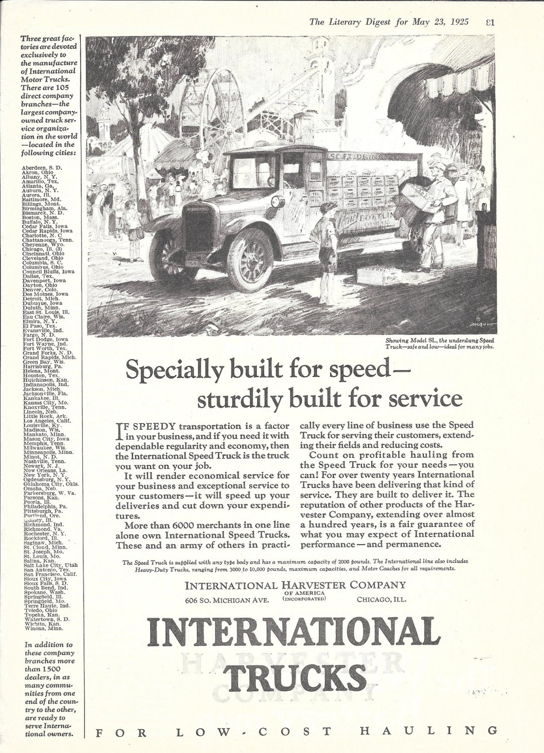 1925 International Truck Model SL Delivery To Fair Ad