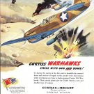 1941 Curtiss Warhawks Planes Strike With Gun & Bomb Ad