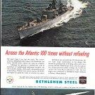 1963 USS Bainbridge Nuclear Powered Ship Bethlehem Steel Ad