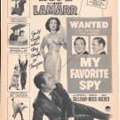 1951 Bob Hope Hedy Lamarr My Favorite Spy Movie Promo Ad