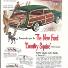 Old Ford Country Squire Station Wagon Hunters With Dog Ad