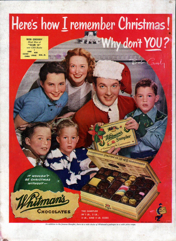 1951 Bob Crosby &Family Whitman's Sampler Chocolates Candy Ad