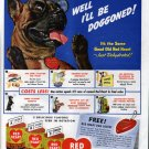 1942 Red Heart Dog Food Dog Wearing Glasses Ad