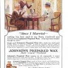 1920 Johnson's Prepared Wax Maid & Ladies Having Tea Ad