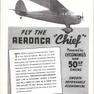 1938 Aeronca Chief Plane Powered By Lycoming Engines Ad