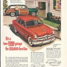 1950 Ford Cars Fordor Sedan Country Equire Station Wagon Ad In Driveway