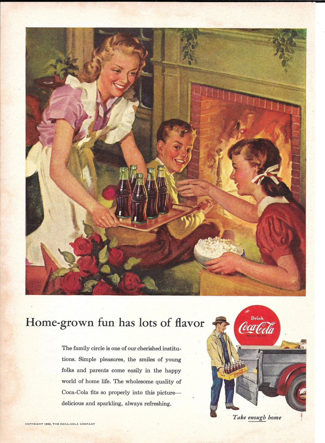 1953 Coca-Cola Soda Popcorn By The Fireplace Ad Home Grown Fun