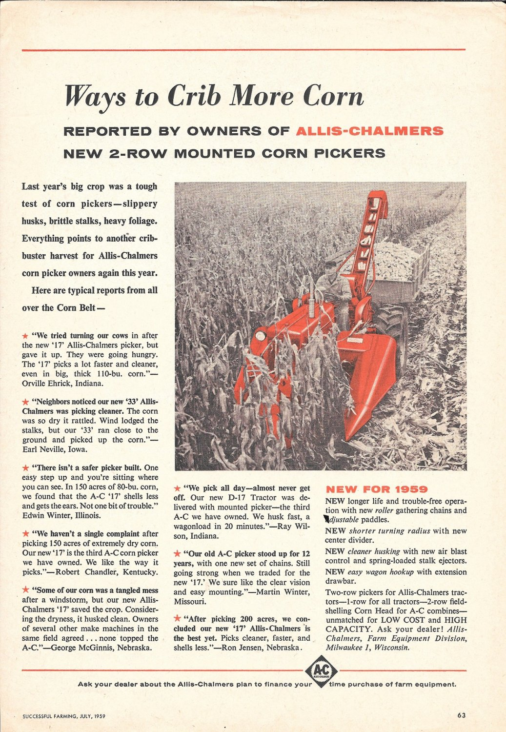1959 Allis Chalmers 2 Row Mounted Corn Pickers Ad Way To Crib More Corn