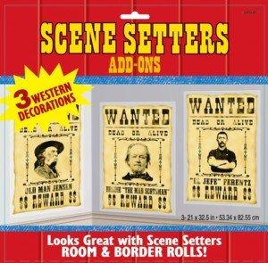Scene Setters Wild West Saloon-WANTED 3pk