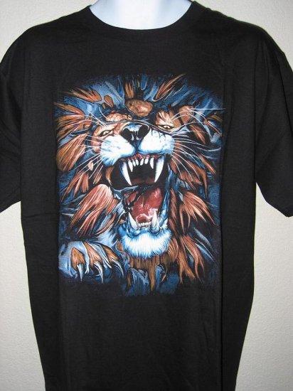 NWT Angry Lion Men T-Shirt XL tiger tattoo gothic biker