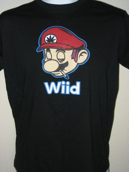 Mario Brothers Wiid / Nintendo Wii Spoof Men T-Shirt size L Large