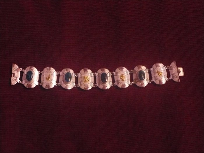 Handmade Sterling Silver Bracelet with Inca Motifs and Semi-precious Stones