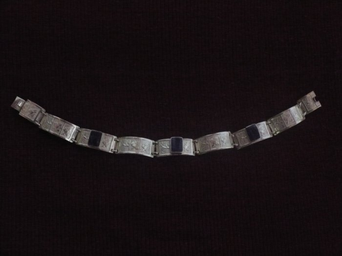 Handmade Sterling Silver Bracelet with Semi-precious Stones