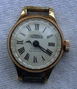 "VINTAGE EXPORT LADIES GOLD PLATED USSR RUSSIA WATCH""CORNAVIN""/BEAUTIFUL DIAL"