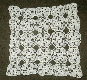 VINTAGE   white crocheted macrame tablecloth lace 1960s handmade