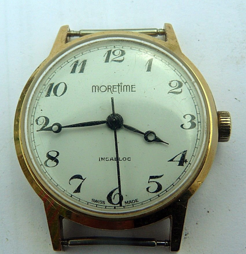 Vintage Rare *Moretime* Swiss made  30mm Wrist Watch 1970's
