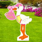 """""""It's a New Baby Girl"""" 4 Foot-Tall  Lawn Stork Arrival Yard Decoration Birth Display Die Cut Sign"""