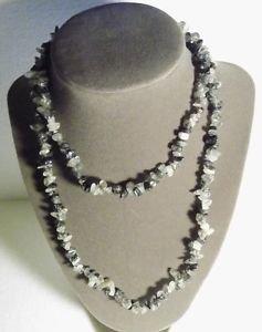 Gemstone Necklace Black White 33 Inch