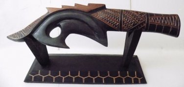 Pacific Island Tribal  War Club with Stand
