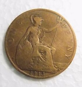 GREAT BRITAIN. 1 PENNY, 1913. KING GEORGE V.