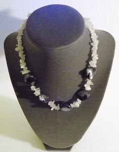 Gemstone Necklace Black and White 15.5 Inch
