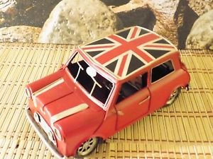 Vintage Red MINI COOPER UNION JACK tin / metal car
