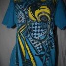 4 Seasons Mens M Blue Cotton Graphic Short Sleeve T Shirt