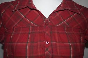 Womens St.Johns Bay sz M red Plaid Button Down