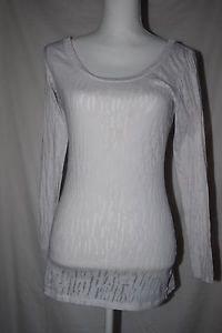 DOTS brand Ladies Sheer Long Sleeved Top Stretch Sz M