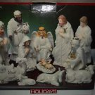 Home For The Holidays  Porcelain 11 Piece Nativity Set w/ Base  Gold Trimmed