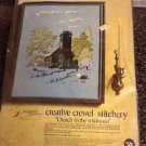 "Vintage Paragon ""Church In The Wildwood"" Crewel Stitchery Kit NIP"