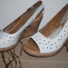 "BOC Born Concept ""Kacee""  Sz 11 Peep Toe White Cork Wedge Slingback Sandals"